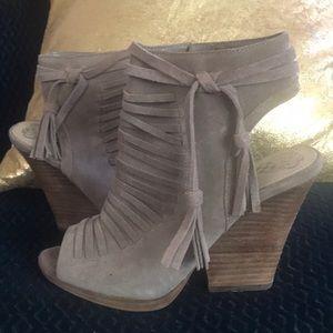 Vince camuto woven fringe heeled sandal